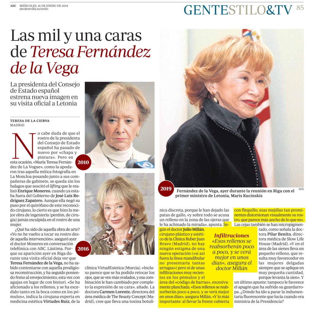 artículo ABC - Las mil una caras de Teresa Fernández de la Vega - Dr Millán